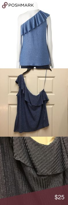 Juicy Couture 1 Shoulder Ruffle Top. Blue XL Juicy Couture 1 Shoulder Ruffle Top. Cornflower Blue XL New With Tags. Chest Side Seam to Side Seam 23 inches. Length28 inches. Juicy Couture Tops