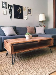 Coffee Table Salvaged Wood w/ Hairpin Legs Customizable Mid Pallet Furniture, Furniture Projects, Furniture Makeover, Home Furniture, Industrial Furniture, Diy Coffee Table, Homemade Coffee Tables, Hairpin Leg Coffee Table, Hairpin Legs
