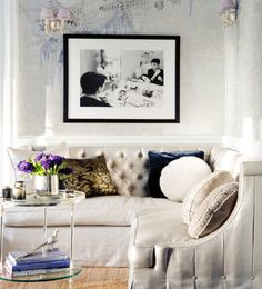 Classic Living room with a Picture of Audrey and a Van Gogh Book - Love it!