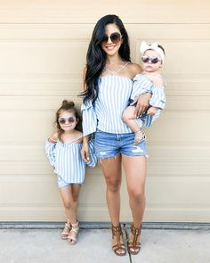 Blue Striped Matching Tops — Little Mia Bella Mom Daughter Matching Outfits, Mommy And Me Outfits, Outfits Niños, Family Outfits, Baby Girl Fashion, Kids Fashion, 50 Fashion, Mother Daughter Fashion, Mother And Daughter Dresses
