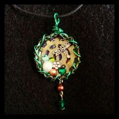 Made from a Beer bottle cap. Green Dragonfly Bottle Cap cog necklace with Swarovski crystals, fresh water pearl