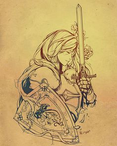 Female Crusader Tattoo Line Art by diversity