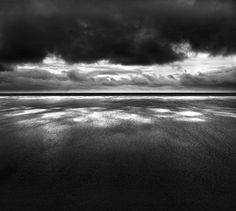 Wind reflect is beautiful, famous sunset landscape, this black and white photograph
