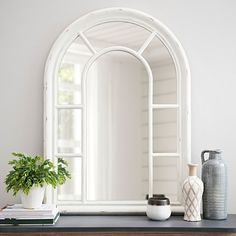 Expand your windowless space with our Jordana Distressed White Wood Arch Mirror! You'll love its distressed finish, arched trellis, and reflective window panes! Window Mirror Decor, Arched Window Mirror, Arch Mirror, Arched Windows, Wall Nook, Wood Arch, Window Styles, White Wood, Furniture Decor