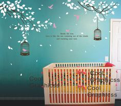 wall decal branch wall decal nursery wall decal children decal girl boy room Vinyl Wall Decal Wall Sticker -  Two Branches with birds cage. $58.00, via Etsy.