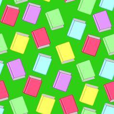 Stoffdesign:Bunte Bücher auf grünem Hintergrund