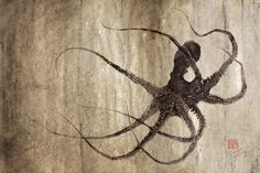 LEVIATHAN OCTOPUS gyotaku print  traditional by FishingForGyotaku, $45.00