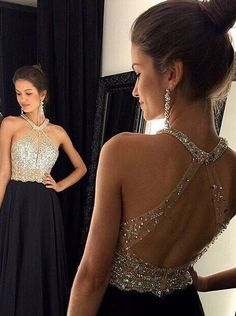 Buy Sexy A-line Beaded Black Long Chiffon Open Back Prom Dress/Evening Dress Special Occasion Dresses under US$ 174.99 only in SimpleDress.