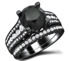 4.61ct Black Round Diamond Engagement Ring Bridal Set 18k Black Gold / Front Jewelers