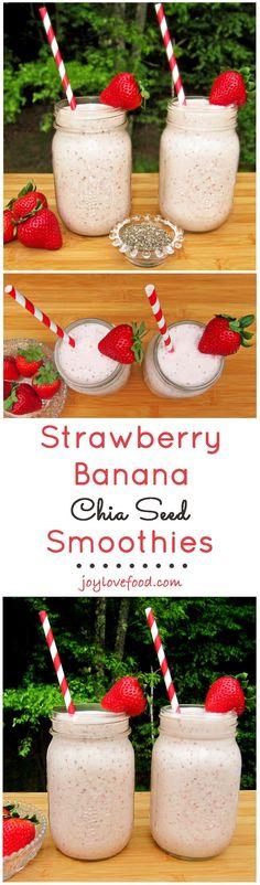 Strawberry Banana Chia Seed Smoothies