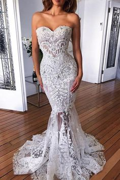 Gorgeous Lace Mermaid Wedding Dress Sexy Strapless Wedding Gowns Brush Train Sweetheart Appliques Bride Dresses Vestido de Noiva from cutebridal Custom Wedding Dress, Lace Mermaid Wedding Dress, Sexy Wedding Dresses, Perfect Wedding Dress, Cheap Wedding Dress, Sexy Dresses, Bridal Dresses, Beautiful Dresses, Wedding Gowns