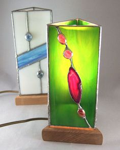 Unusual stained glass lamps. I like!