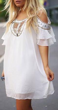 Boho White Off the Shoulder Bead Rhinestone Chiffon Dress for wedding weekend