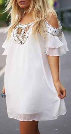 Boho White Off the Shoulder Bead Rhinestone Chiffon Dress for wedding weekend