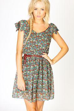 Dina Ruffle Shoulder Ditsy Floral Print Dress £20.00