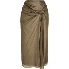 Burberry London Draped metallic silk-crepe skirt (£180) ❤ liked on Polyvore featuring skirts, burberry, knotted skirt, draped skirt, burberry skirt and brown skirt
