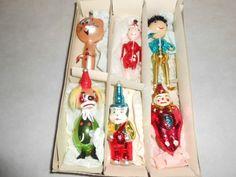 Italian Glass Christmas Ornaments Vintage Lot Of 6 Clown Kitty Pixie Etc