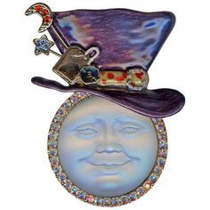 Kirks Folly Mad Hatter Seaview Moon Pin/Pendant.....how cool, all in one, Mad Hatter & the Moon...