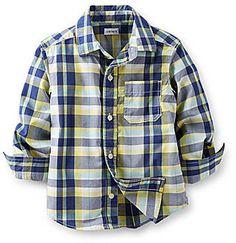 Carter's Long-Sleeve Button-Front Plaid Poplin Shirt - Boys 2t-4t