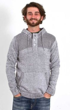Retro Fit Long Sleeve Sweater Hoodie for Men in Platinum Heather