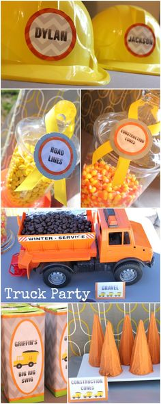 Super creative truck birthday party ideas... candy corns for road cones and chocolate covered raisins for rocks