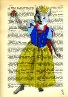 Snow White  Cat Art Illustration  Original Mixed by VincenzoRizzo, $9.00