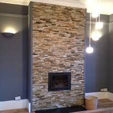 Image result for grey Stone Tile Fireplace Stacked Stone Tile