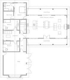 Redesign kitchen, make L-shaped with island offset, so master bdrm entry is more private. Move main bath to second living and use bath space as pantry/storage. Lake House Plans, Basement House Plans, Ranch House Plans, Craftsman House Plans, New House Plans, Dream House Plans, Modern House Plans, Small House Plans, House Floor Plans