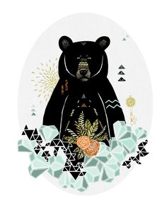 Black Bear Geometric Illustration Archival Art by HeatherMettra