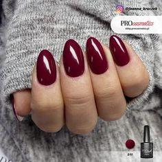 Bordowe paznokcie hybrydowe żelowe - Zmysłowe Bordo - PROnail 511 - Joanna Kruczek Stylizacja Paznokci - Paznokcie Wrocław