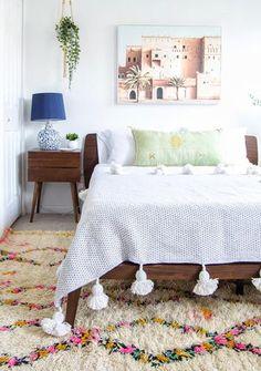 Moroccan Pom Pom Blanket - white and black Moroccan Wedding Blanket, White Throw Blanket, Interior, Blankets, Capri, Furniture, Cream, Bedroom, Diamond