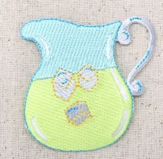 Iron On Embroidered Applique Patch Lemonade Drink Pitcher Yellow Blue Ice Cubes