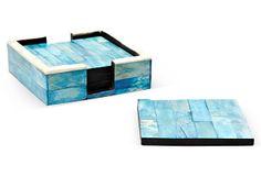 S/4 Ocean Blue Bone Coasters w/ Holder on OneKingsLane.com