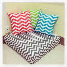 First Grade Teacher Lady: back to school, adorable library nook pillows!back to school . chevron, love these colors . may do a color theme this year. Chevron Classroom, Classroom Layout, Classroom Design, Classroom Themes, Classroom Organization, First Grade Teachers, First Grade Classroom, New Classroom, Kindergarten Classroom