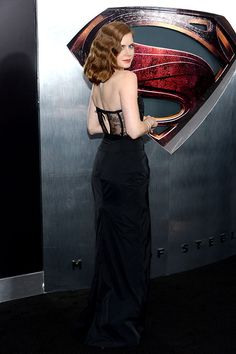 Amy Adams at 'Man of Steel' Premiere in Nina Ricci gown with flower detail on the front and lacey paneled peekaboo back