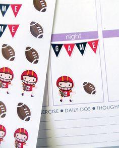 Football Set Stickers for Erin Condren Planner, Filofax, Plum Paper
