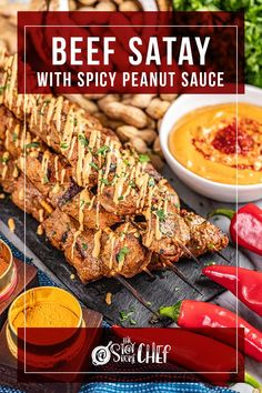 This Beef Satay with Peanut Dipping Sauce recipe starts with an amazing beef marinade, is grilled to perfection, and then dipped in the most delightful peanut sauce. It is sweet, spicy, and oh so delicious. Be sure to serve it as an appetizer or as part of the main course! Peanut Dipping Sauces, Spicy Peanut Sauce, Beef Marinade, Marinated Beef, Sauce Recipes, Beef Recipes, Peanut Butter Substitute, Beef Satay, Beef Flank