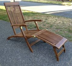 Teak Patio Chaise Lounge Chair   Steamer Deck Chairs $175 Each. 2 Available
