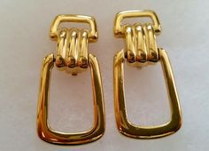 Huge GIVENCHY Signed 80's Gold Tone Door Knocker Clip Back Earrings High Fashion French Couture Women's Estate Jewelry by VintagePolice4U on Etsy