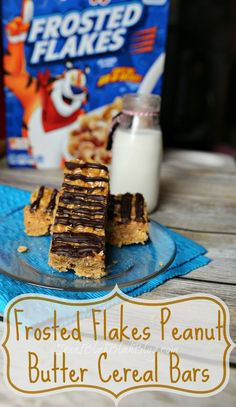 No Bake Frosted Flakes Peanut Butter Cereal Bars Recipe #AD