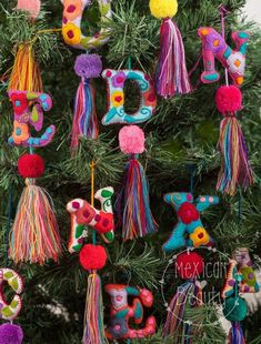 Personalized Gift / Mexican Hand Embroidered Alphabet Letters with pom-poms and Tassels / Custom Mad Pompom Charms /Mexican handmade colorful pom pom tassel Charms / pompom purse charm w friendship bracelet woven string Etsy :: Your place to buy and sell Letter Ornaments, Diy Christmas Ornaments, Felt Ornaments, Mexican Christmas Decorations, Christmas Tree, Christmas Pom Pom, Bohemian Christmas, Pom Pom Crafts, Felt Crafts