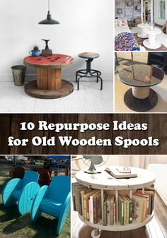Old wooden spools are one of the most suitable materials for DIY transformations. - I love the bookshelf table for a nursery! Wooden Spool Projects, Spool Crafts, Wood Spool, Wood Projects, Furniture Projects, Diy Furniture, Painted Furniture, Upcycle Home, Decoupage