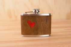 4oz Flask - Red and antique brown - Nice Pattern with Woodgrain and Heart - Leather and Stainless Steel