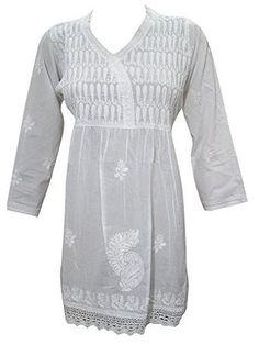 Women's White Pure Cotton Shirt Tunic Top Kurti Hand Embroidered Dress