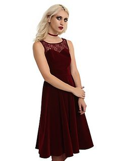 Burgundy Velvet Sweetheart Lace Dress, RED