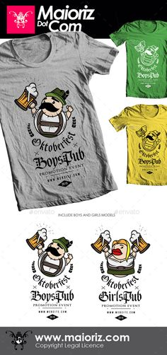 Oktoberfest Couple Tshirt $9  Promote your EVENT to a higher level and earn profits!  Amazing T-shirt design with brand or EVENT.   2 DESIGNS INCLUDE. 100% Vector illustration.  All text is easy editable.  Resizable for any size.    bar, beers, character, clean, drink, fonts, germany, inspiration, lettering, october, oktoberfest, pub, scrip, tee, tshirt, type, typography, wine