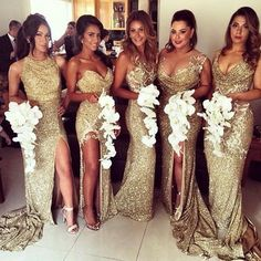 Flawless maids of honor : gold dresses (Front)