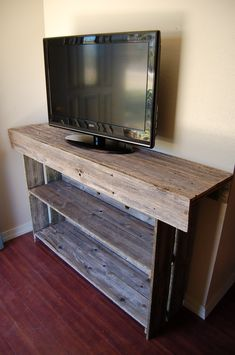 Raw Wood Console Table. Large Media TV Table Recycled Wood Furniture.