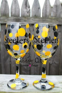 NFL Theme Wine Glasses Ravens & Steelers 20 oz by ahindle78, $12.00