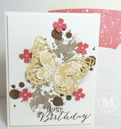 Stampin' Up! ... hand crafted card by Michelle Gleeson ... grunge splats ... layered die cut butterfly ... punched flowers with pearl centers ... great combo!